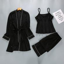 Модный женский комплект из 3 предметов: халат, топ и штаны, ночной халат-Пижама, повседневные пижамы, сексуальное ночное белье, кимоно, банное платье, M, L, XL