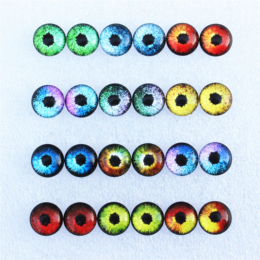 12mm Random Mixed Dragon Eyes Round Glass Cabochon Flatback Photo Dome Jewelry DIY Accessories Tray By Pair 50pcs/lot K06125