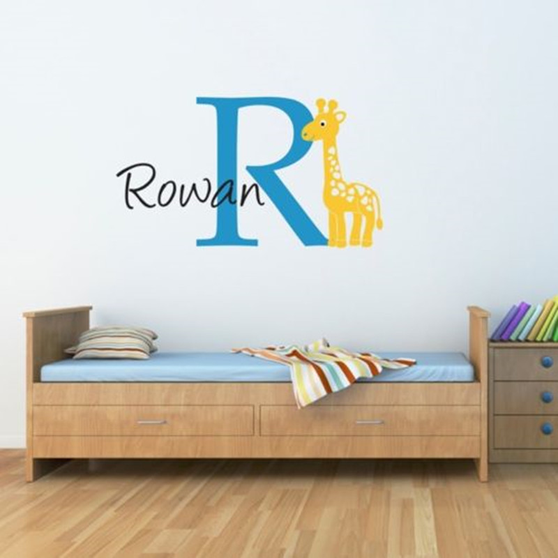 custom personalised name giraffe wall decal sticker nursery boy girl