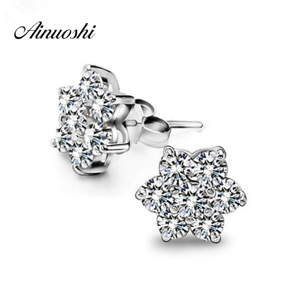 AINUOSHI Luxury 925 Sterling Silver Round Cut Stud Halo Earrings Sun Flower Lover Women Engagement Stud Earrings Party Jewelry AINUOSHI Luxury 925 Sterling Silver Round Cut Stud Halo Earrings Sun Flower Lover Women Engagement Stud Earrings Party Jewelry