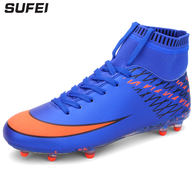 sufei Men Football Boots High Ankle Superfly Soccer Shoes Kids Outdoor Anti-slip Athletic Soccer Cleats here buy the cheapest price zusa superfly vi elite sg 360 ac blackout soccer shoes mens outdoor soccer cleats