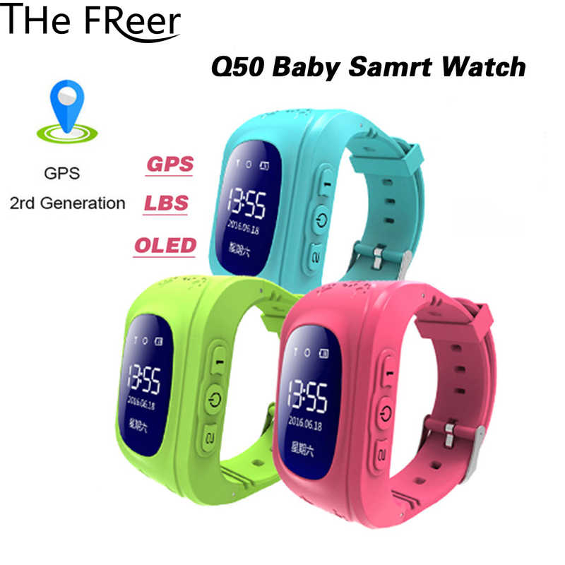 Anti Lost Q50 OLED Screen Child GPS Tracker SOS Smart Monitoring Positioning Phone Kids GPS Baby Watch Compatible IOS  Android