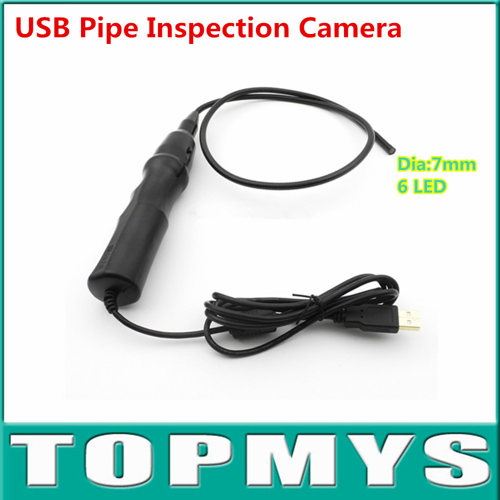 Free shipping 5pcs/lot USB Pipe Inspection Camera Borescope Endoscope Tube Snake Waterproof with 7mm Diameter 6LED TE-E2A supereyes 3 5 monitor waterproof borescope videoscope 9mm diameter 800mm snake tube endoscope camera with led inspection n012j