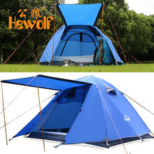 (Ship From Russia) Hewolf Outdoor 3-4 Person Double Layer Tent Rainproof Camping Tent for Fishing Hunting Adventure hot