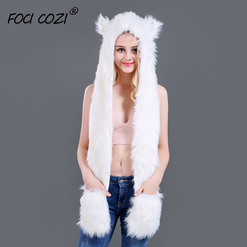 Winter 2019 New Novelty Women 3 In 1 Function Hoodie Soft Furry Cosplay Hat White Plush Hood Scarf Gloves Mittens With Paws Ears