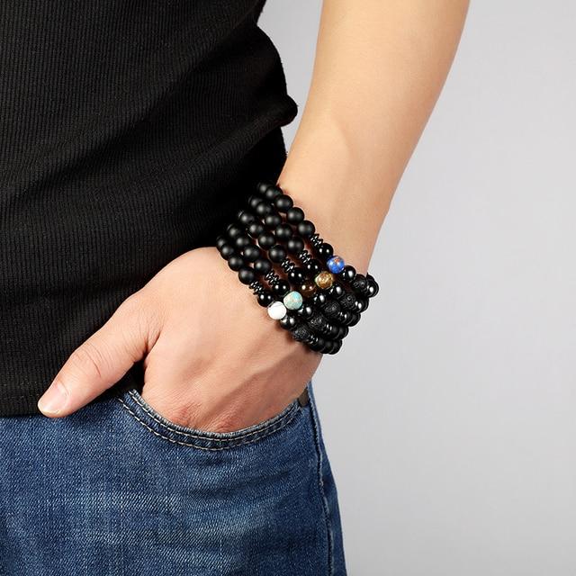 Мужской браслет из лавы jaafar натурального камня 8 мм для женщин