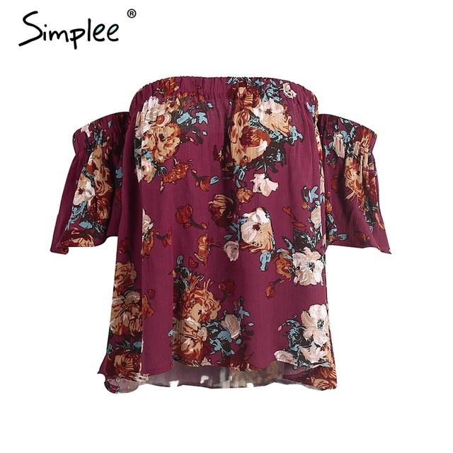 Simplee Flower print off shoulder blouse shirt Women casual short flare sleeve cool blouse blusas Sexy blouse chemise femme tops