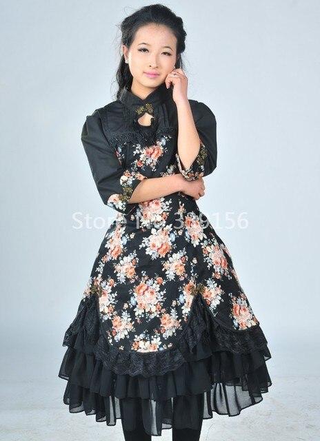 2017 Nouvelle Mode Noir Imprimé floral Classique Gothique Lolita Robes  Japonais Style Steampunk Robes Personnalisé