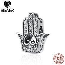 BISAER Hot Sale 100% 925 Sterling Silver Fatima Hamsa Hand Charm Beads Fit Original PAN Charm Bracelet DIY Jewelry GXC225 цена и фото