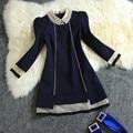 Diamante elegante vestidos casuais 2017 novo plus size dress preto azul mulheres manga comprida outono dress h206 vestido rodado