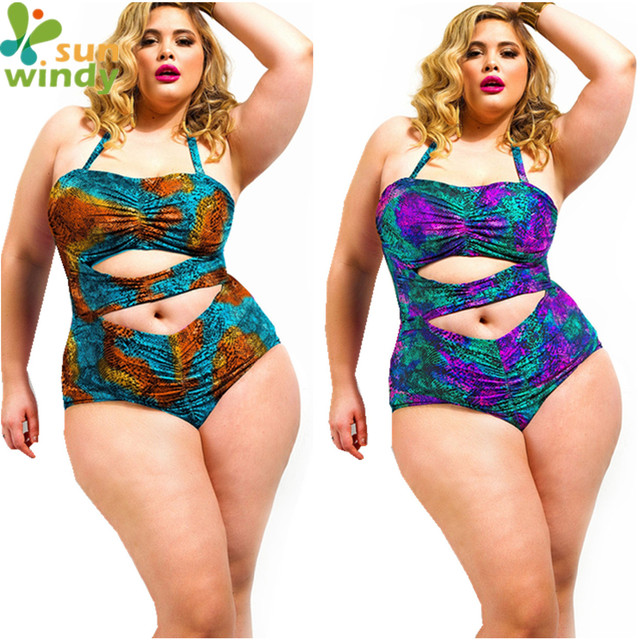 1041d65987bb3 Colorful Snakeskin Plus Size Swimwear Cut Out Monokini Sexy Women Halter Bathing  Suit High Waist Swimsuit Hollow One Piece Suit