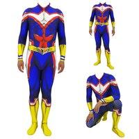 Kids Men JP Amine All Might Cosplay Costumes Spandex Zentai Lycra Bodysuits Jumpsuits My Hero Academia Halloween Costumes