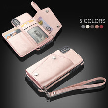 Luxury Leather Case For iPhone 11 Pro XS Max X XR 6 6s 7 8 Plus Flip Wallet Card Holder Cover Protection Phone Bags Mujer Coque(China)