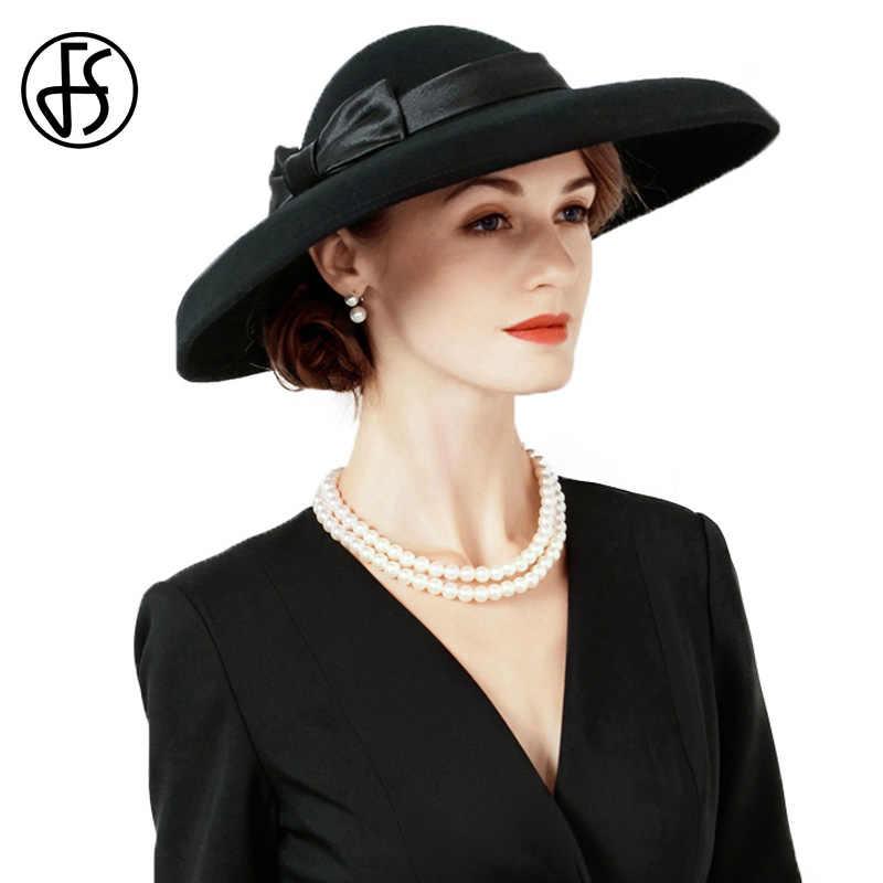 FS Vintage 100% Australia Wool Wide Brrim Felt Fedora Hat Wedding Hats For  Women Elegant abbe4108f83