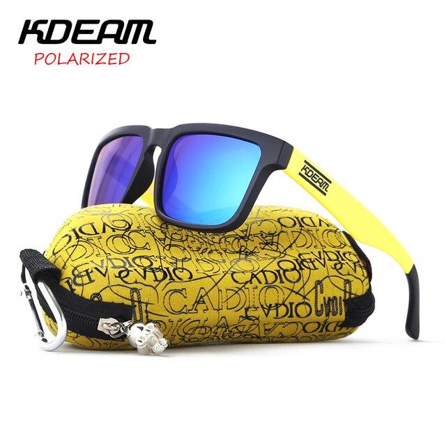Kdeam deporte Gafas de sol hombres polarizadas cuadradas Sol Gafas negro y  amarillo HD marco azul 2526a1852e7b