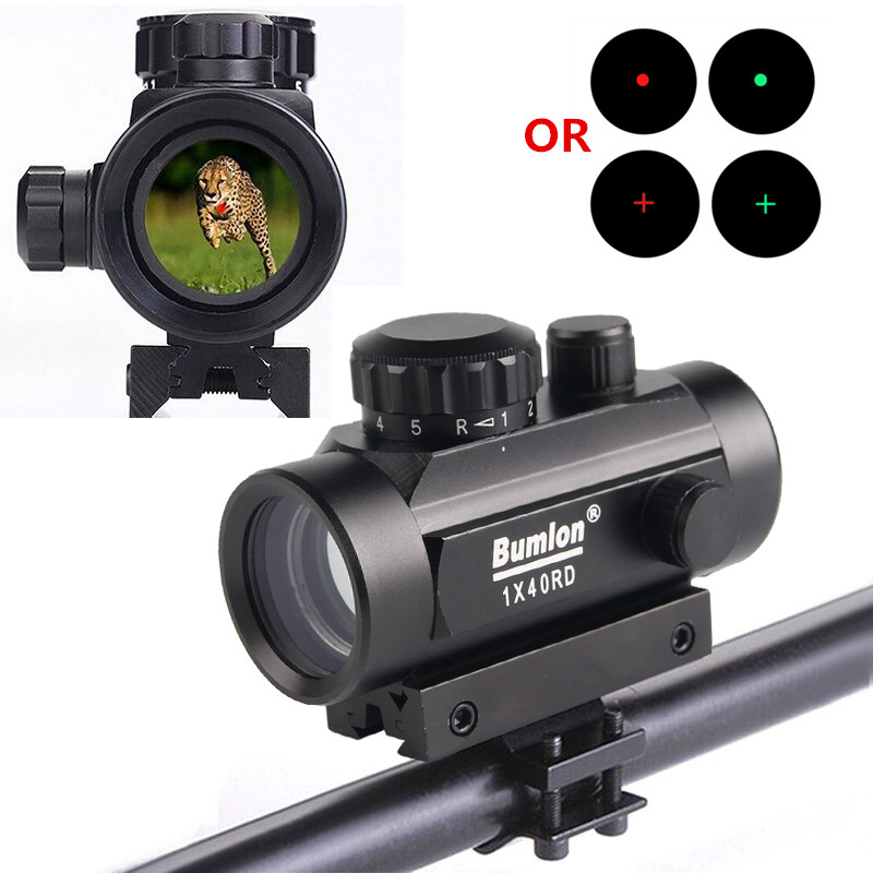 Bumlon Tactical Holographic 1x40 Red Dot Sight Airsoft Scope Red Green Dot/Cross Hair Riflescope Hunting With 11&20mm Rail Mount