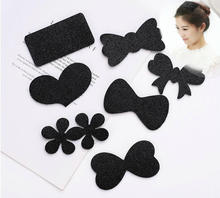 цены 2pcs Women black bow sticker hairClip Bangs fixed Seamless Magic Paste Double heart Post Tape Fringe Hair Bang hair accessories