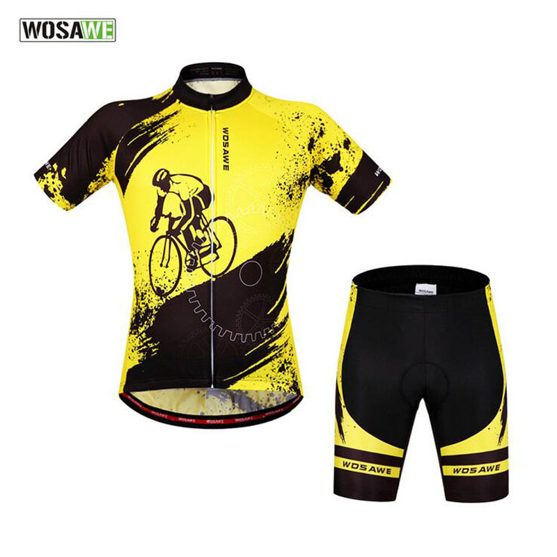 WOSAWE Cycling Jersey Set Gel Breathable Pad Mtb Downhill Maillot Ciclismo Bike Clothing Set Short Sleeve