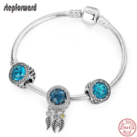 STEP FORWARD Genuine 925 Sterling Silver Feather Tassel CZ Blue Stone Charm Bracelets & Bangles For Woman Silver Jewelry WLB036