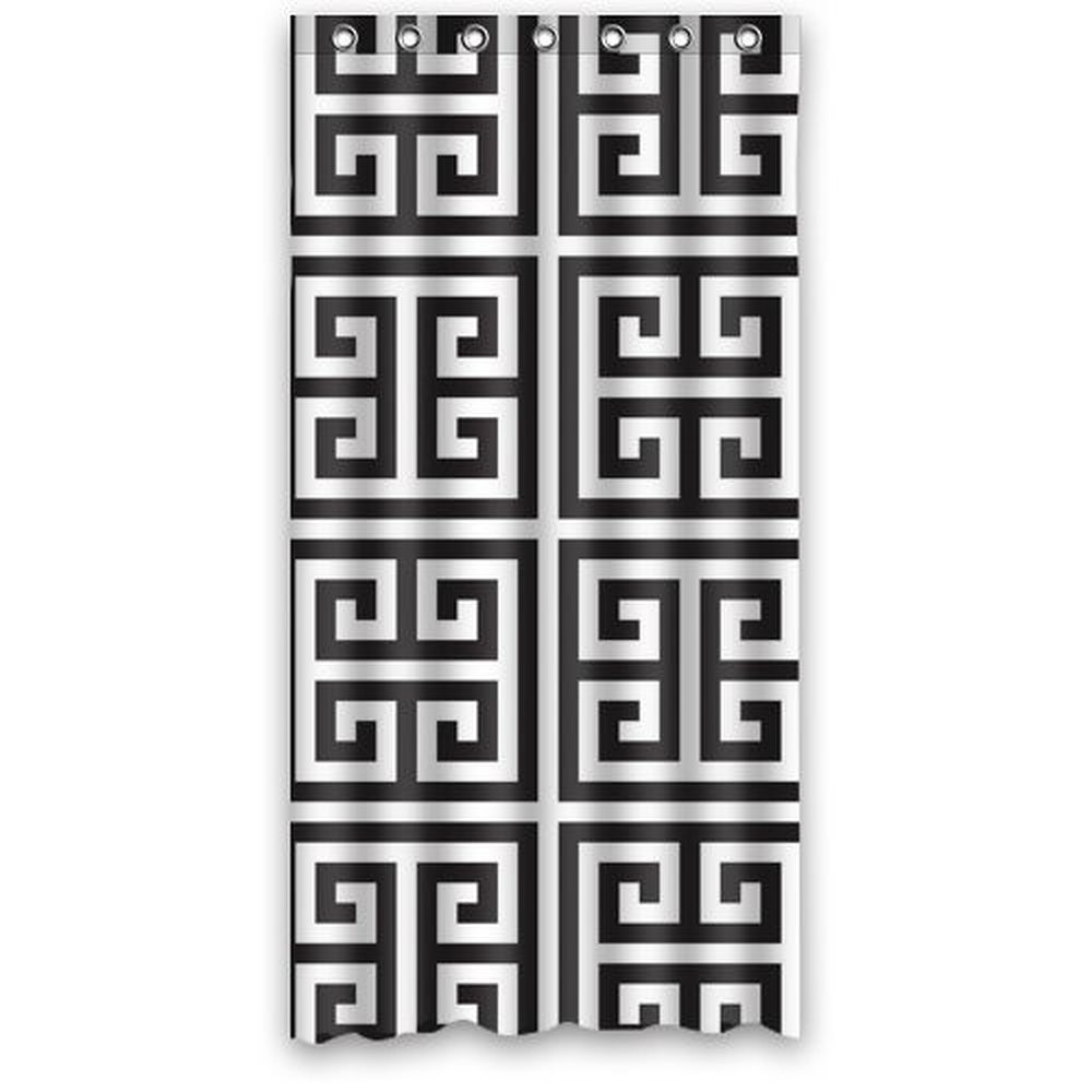 Gray and white damask curtains - 36w 72h Inch Black And White Damask Pattern Design Bath Waterproof Polyester Fabric Shower Curtain
