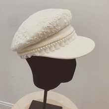New Elegant Lace Pearl Trim White Wool Hat for Women Girl Autumn Winter Cap Adjustable Newsboy Cabbie Warm Fit Military
