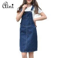 WAQIA Summer Women Denim Dress Denim Sundress Girls Casual Loose Overalls Female Solid Color Adjustable Straps