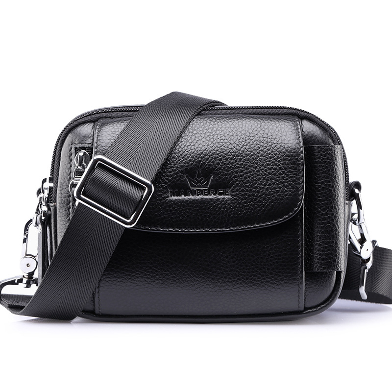 2018 New Arrivals Black Brown Luxury Brand Design Mens Messenger Bag Business Cow Genuine Leather Small Crossbody Shoulder Bags