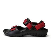 Mens Sandals Leather Men Summer Shoes 2019 Flat Beach Male Black Red 1#15D50