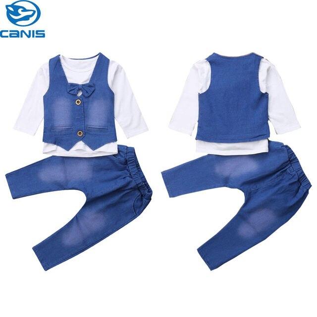 4b9511f86c96 Pudcoco Baby Boy 3 Piece Set Little Gentleman Suit 1-5T Kids Boys Fit  Outfits Autumn Bow Tie Tops + Denim Vest + Jean Pants 2018