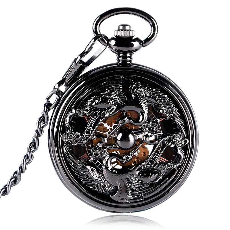Luxury Mechanical Hand Wind Hollow Skeleton Black Double Cranes Design Pocket Watch Men Women Gift new black skeleton five star luxury hot stylish retro cool crown pattern hand wind mechanical pocket watch supernatural gift