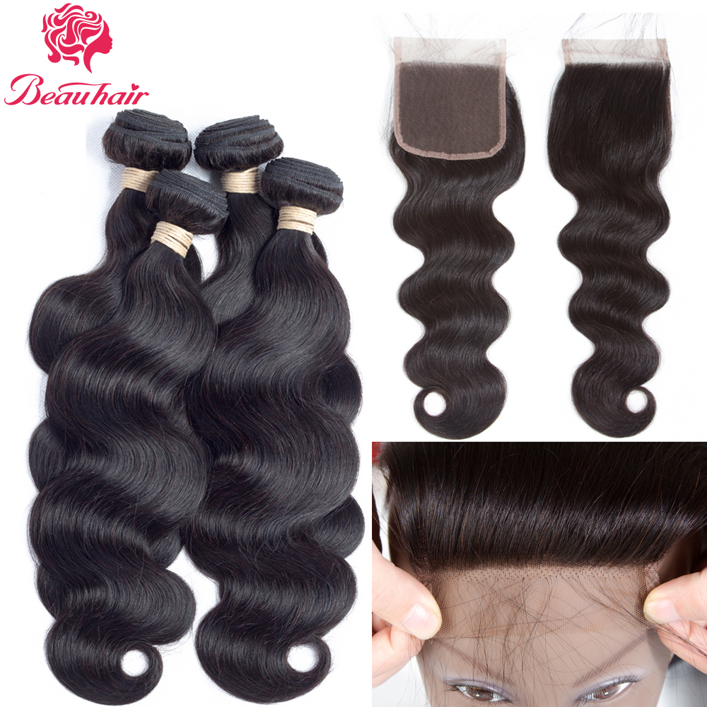 Beau Hair Indian Body Wave Lace Closure Free Part 4 PCS Human Hair Bundles With Closure Swiss Lace Non Remy Hair Extension