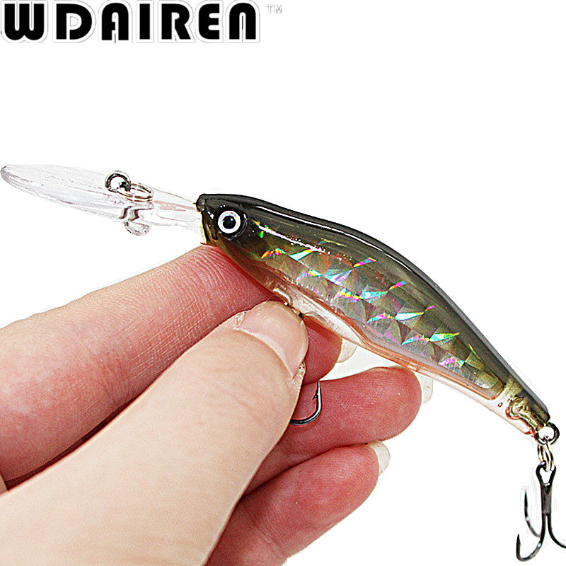1PCS Laser Sinking Slowly Minnow Fishing Lure 8.5CM 6.5G Wobbler Artificial Fly Fishing Hard Bait Carp Crankbait Fishing WD-215 1pcs 12cm 14g big wobbler fishing lures sea trolling minnow artificial bait carp peche crankbait pesca jerkbait ye 37