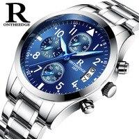 ONTHEEDGE Luxury Business Mens Watch Male Clock Waterproof Watch Man Quartz watch Tungsten Steel Watch Men Relogio Masculino
