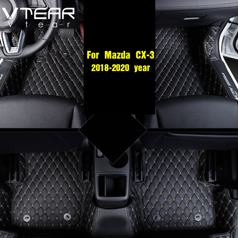 Vtear For Mazda CX 3 CX3 2017 2018 Leather Floor Mats Carpets interior pad waterproof rugs