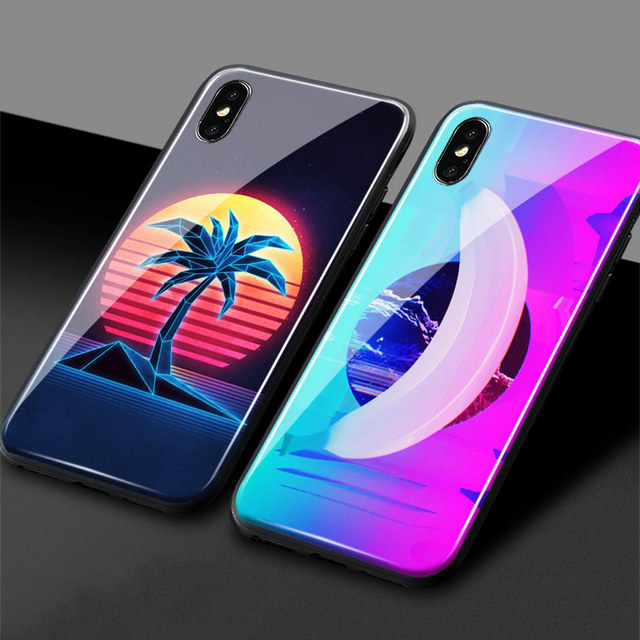 US $3 23 19% OFF|Neon Retrowave 80s vintage art Soft Silicone Tempered  Glass Phone Case For iPhone 5 5s Se 6 6s 7 8 Plus X XR XS MAX Cover Shell  on