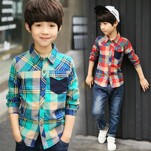 Los niños blusas Camisas manga larga de cuadros para niños Tops Primavera  de 2019 de los niños de algodón de la ropa de los . 7a52489556baf