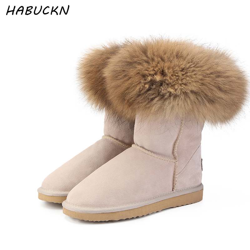 HABUCKN Fashion Women's Natural Real fox Fur Snow Boots 100% Genuine Cow Leather women Boots Female Warm Winter Boots Shoes 2017 new women natural color real silver fox fur cap kenmont genuine female russia winter warm hat skullies