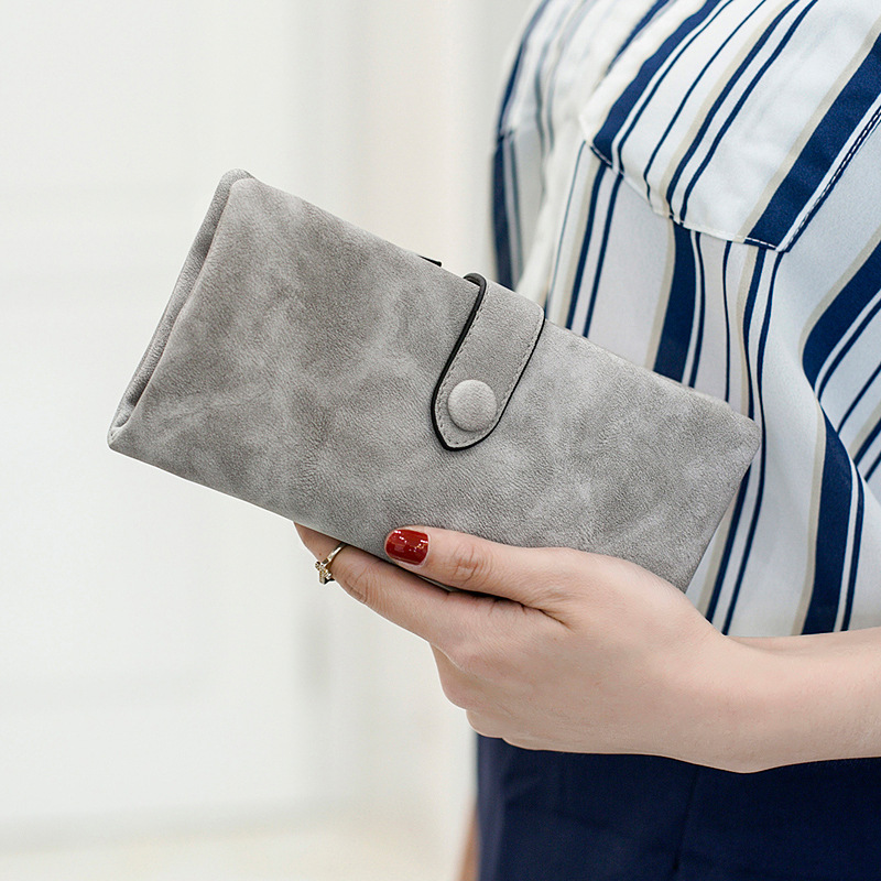 Top Sale Female Wallet Vintage PU Leather Long Women Wallet Change Clasp Purse Money Coin Card Holders Womens Wallets and Purses in Wallets from Luggage Bags
