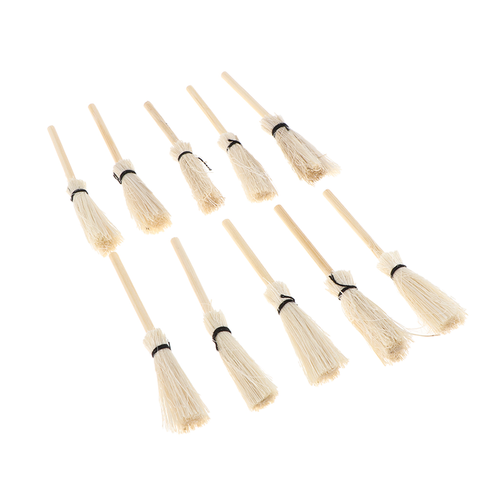 10 Pieces Miniature Wooden Brooms For 1/12 Dolls House Accessories