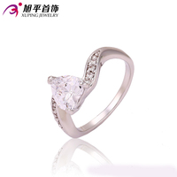 Xuping Fashion Ring Love Style Sincere Heart Platinum Color Plated Synthetic CZ Promise Ring Engagement Love