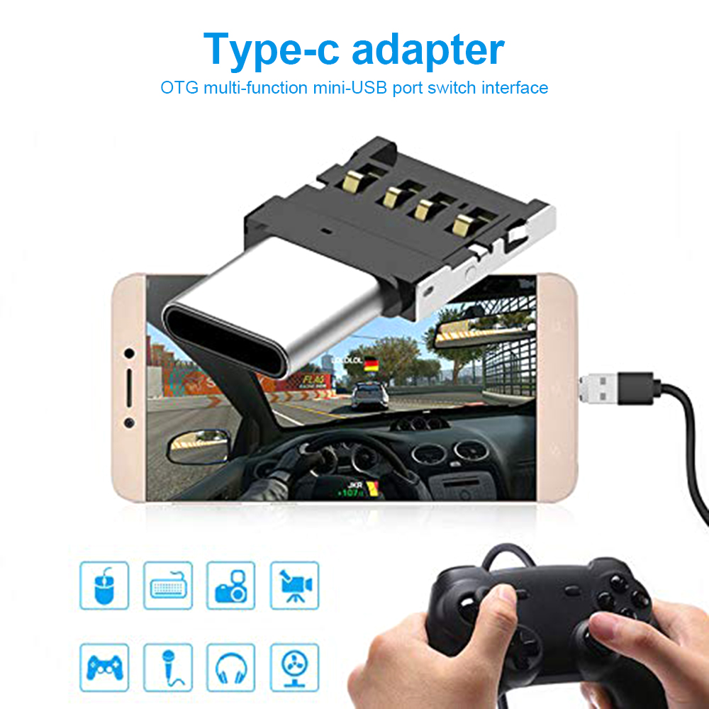 5PCS Type C To USB OTG Connector Adapter For USB Flash Drive S8 Note8 Android Phone Black