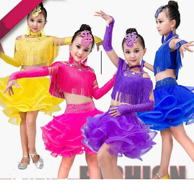 Girls Latin Dance New Costumes Children Latin Dance Rumba Nice Samba Skirt Costumes Sequins Tassel Stage Performance Clothing