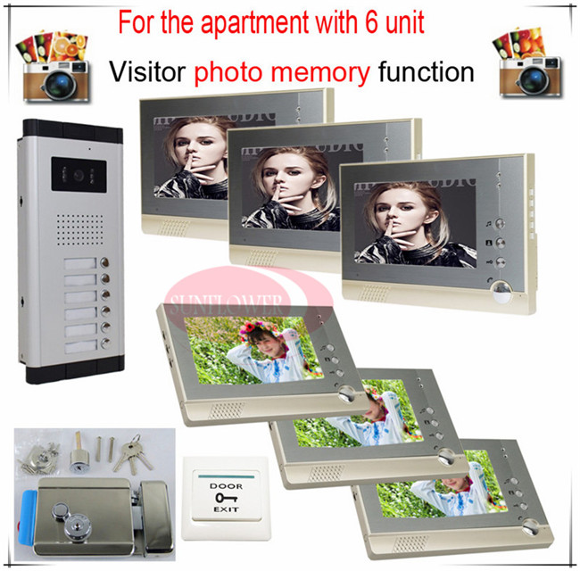6v6 Take Photos Color Video Door Phone Intercom Doorbell System  For Six Units Apartment  + Electronic control lock