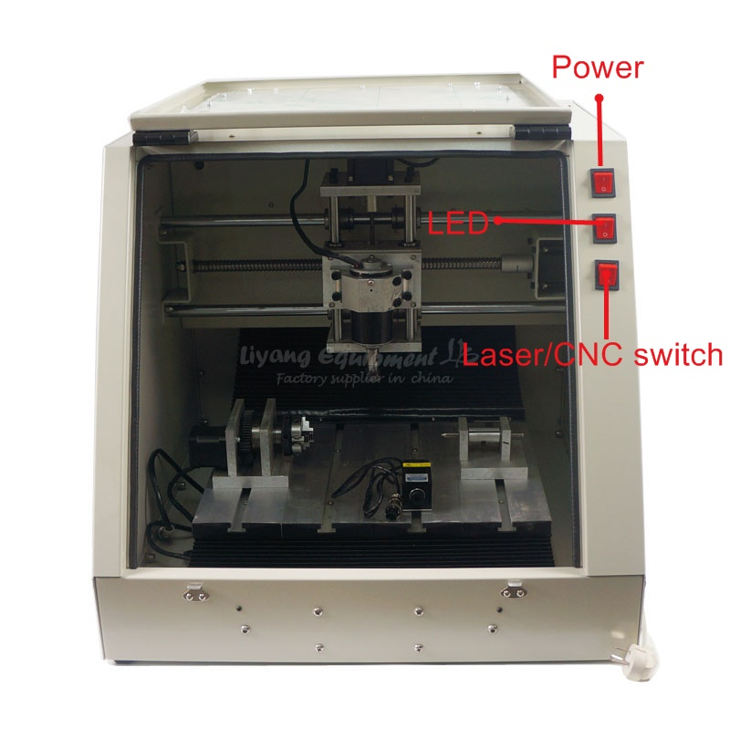 LY CT3030 full sealed 4 axis laser cnc engraving machine Mach3 CNC-USB software spport laser function 500MW