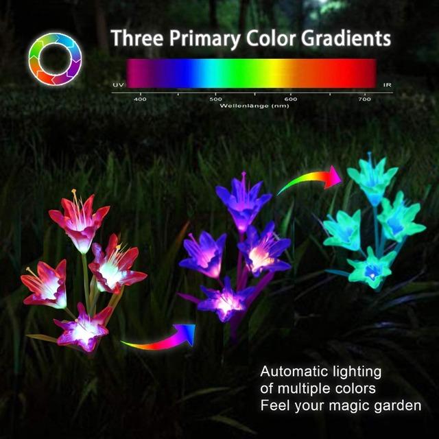3 Pack Solar Garden Lights LED Color