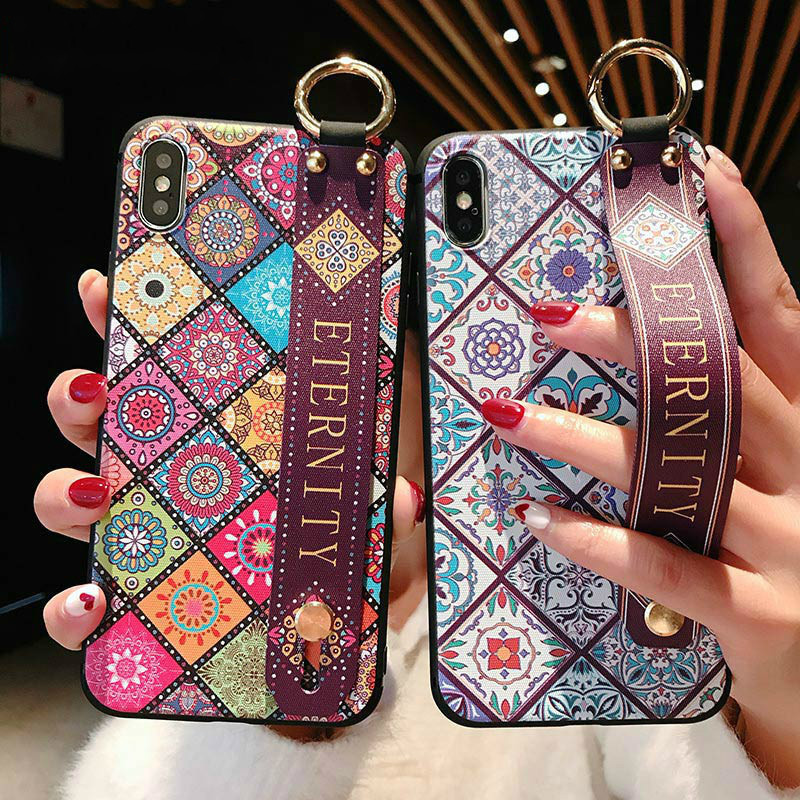 Wrist Strap loopy Soft Phone <font><b>Case</b></font> For <font><b>iphone</b></font> <font><b>7</b></font> <font><b>Case</b></font> 8 6 <font><b>Plus</b></font> Xs Max XR Flower Pattern Vintage embroidery Stand <font><b>Holder</b></font> Back Cover image