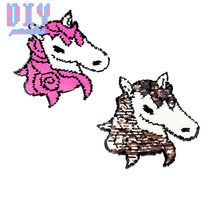 Unicorn Reverse Sequins Sew On Patches for clothes kids Clothing Reversible Change Color Patch Applique(China)