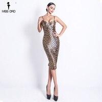 Missord 2019 Women Sexy V Neck Off Shoulder Backless Animal Print Dresses Female Bodycon Split Dress FT18605