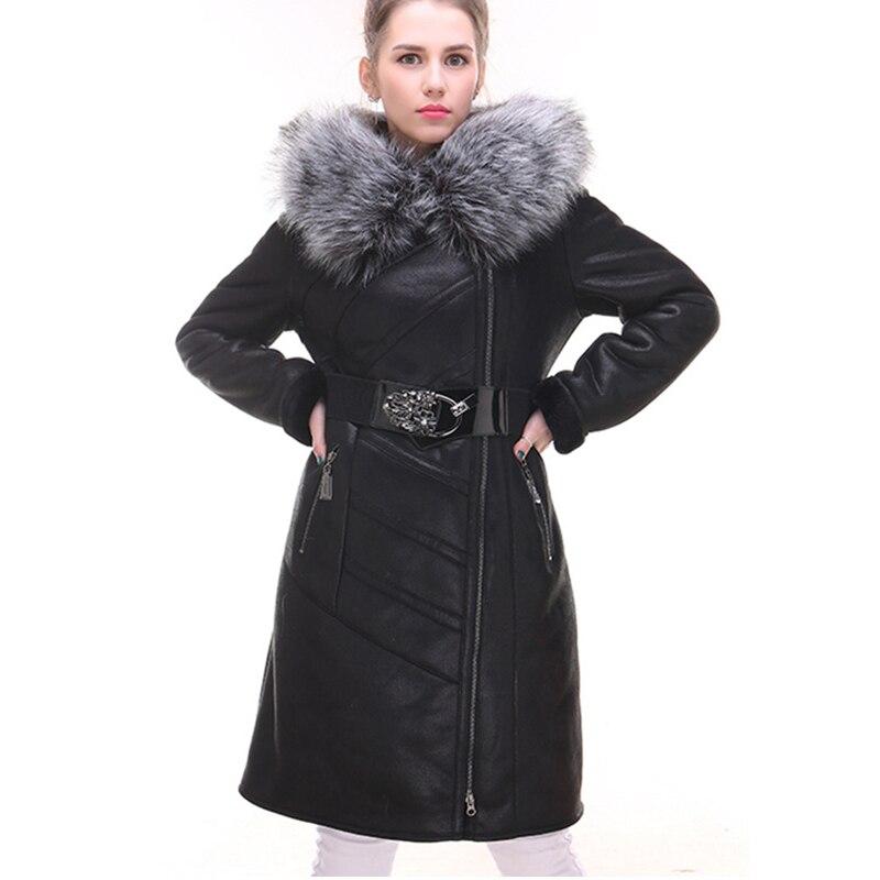 2018 бренд Для женщин зимнее пальто мода овчины из искусственного лисьего меховой воротник тонкий с капюшоном утолщенной Большие размеры 7XL и