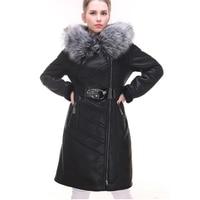 2019 Брендовое Женское зимнее пальто из овечьей кожи с воротником из искусственного лисьего меха, утолщенное пальто с капюшоном, большие разм